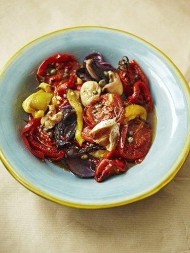Постные салаты. Овощной салат — рецепт из запеченных овощей — Рецепты Джейми Оливера