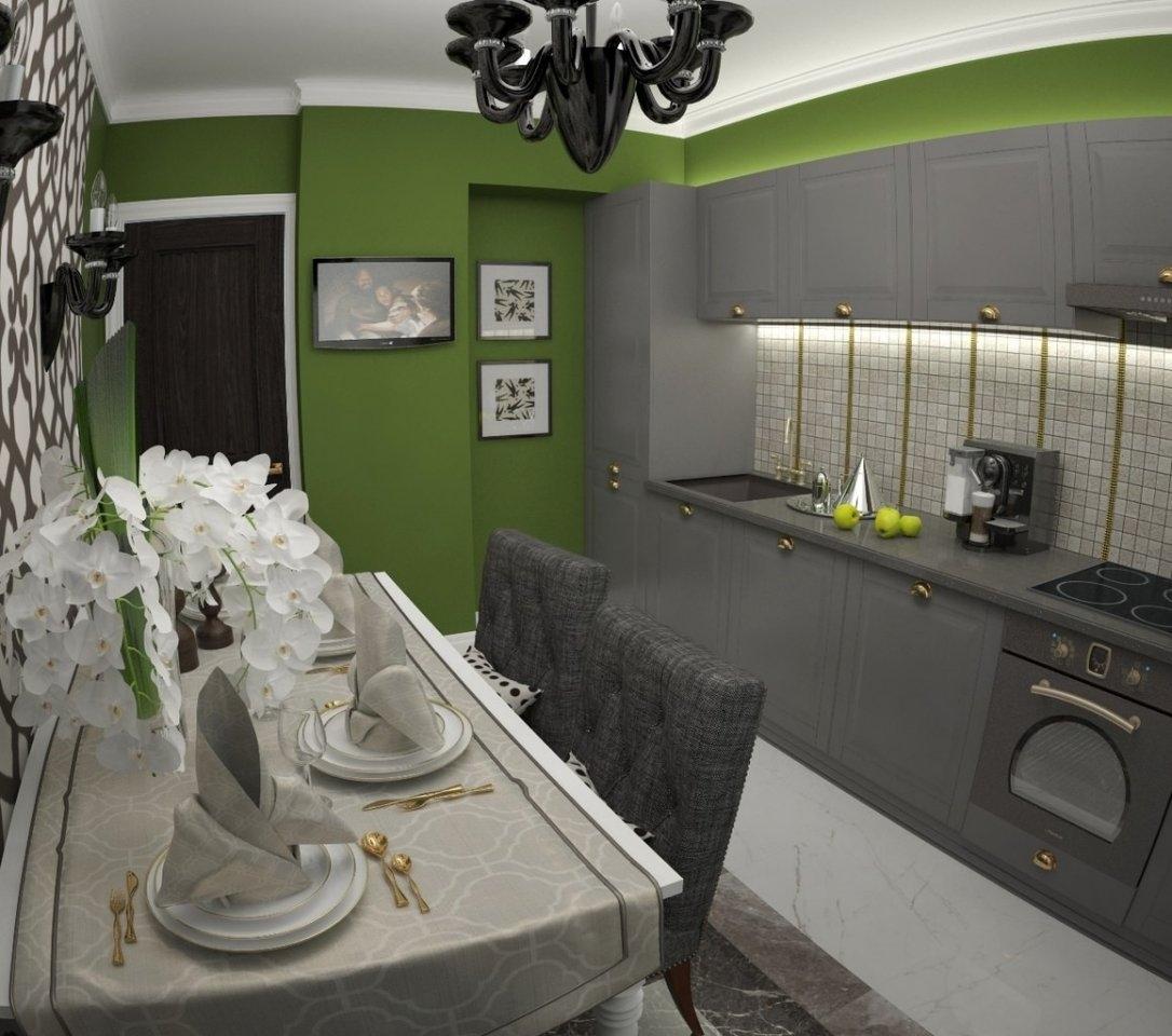 Дизайн и планировка серо зеленой кухни