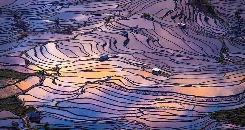 Залитые водой рисовые поля в округе Яньань виды, города, китай, красота, необыкновенно, пейзажи, удивительно, фото