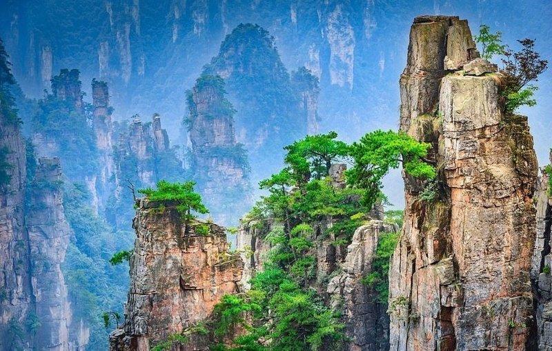 Горные пики национального парка Чжацзяцзе виды, города, китай, красота, необыкновенно, пейзажи, удивительно, фото