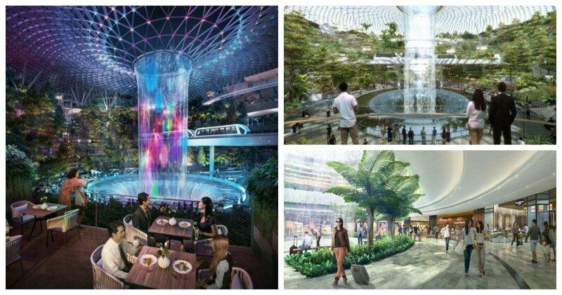 Тропический лес и 40-метровый водопад: открытие нового комплекса аэропорта Чанги (8 фото + 1 видео)