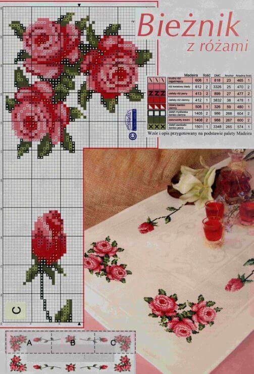 Схемы вышивки скатерти крестом вышивка,схемы