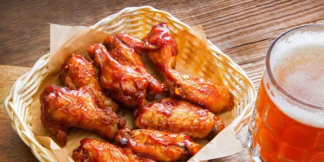 Куриные крылышки в пивном соусе