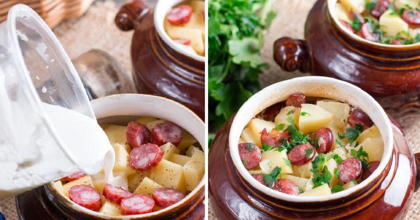 Картофель с колбасками в горшочках: красивое блюдо на каждый день