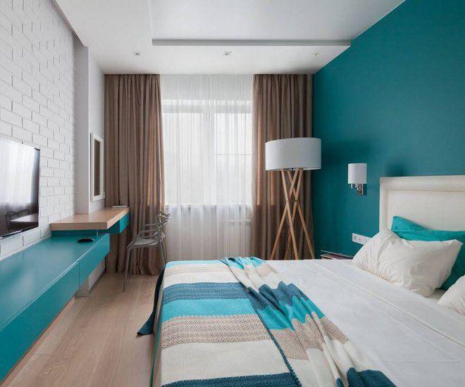 дизайн узкой спальни цвет