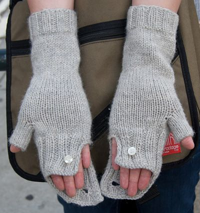 The Commuter-cabled fingerless gloves- folded ribbed cuff that is buttoned on the top cable. An optional hidden second button under the cuff of The Commuter allows for extra coverage on cooler days.