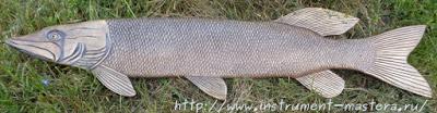 Щука. Декоративное резное блюдо в подарок рыбаку