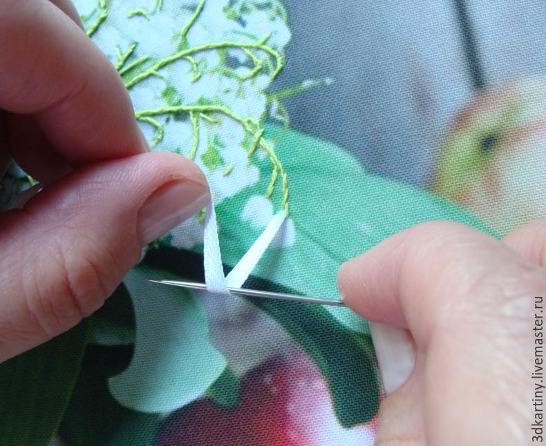Вышиваем лентами «Натюрморт с ландышами и персиками»
