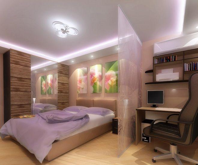 дизайн большой спальни стекло перегородки