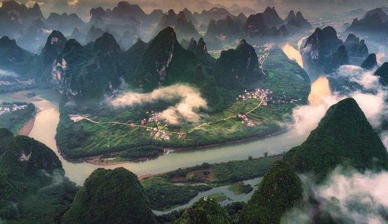 Река Ли с другого ракурса виды, города, китай, красота, необыкновенно, пейзажи, удивительно, фото