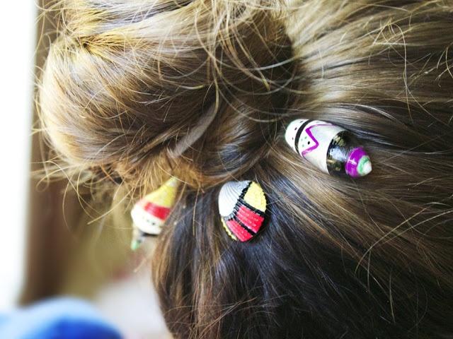 Ракушки в волосах - заколки (diy)