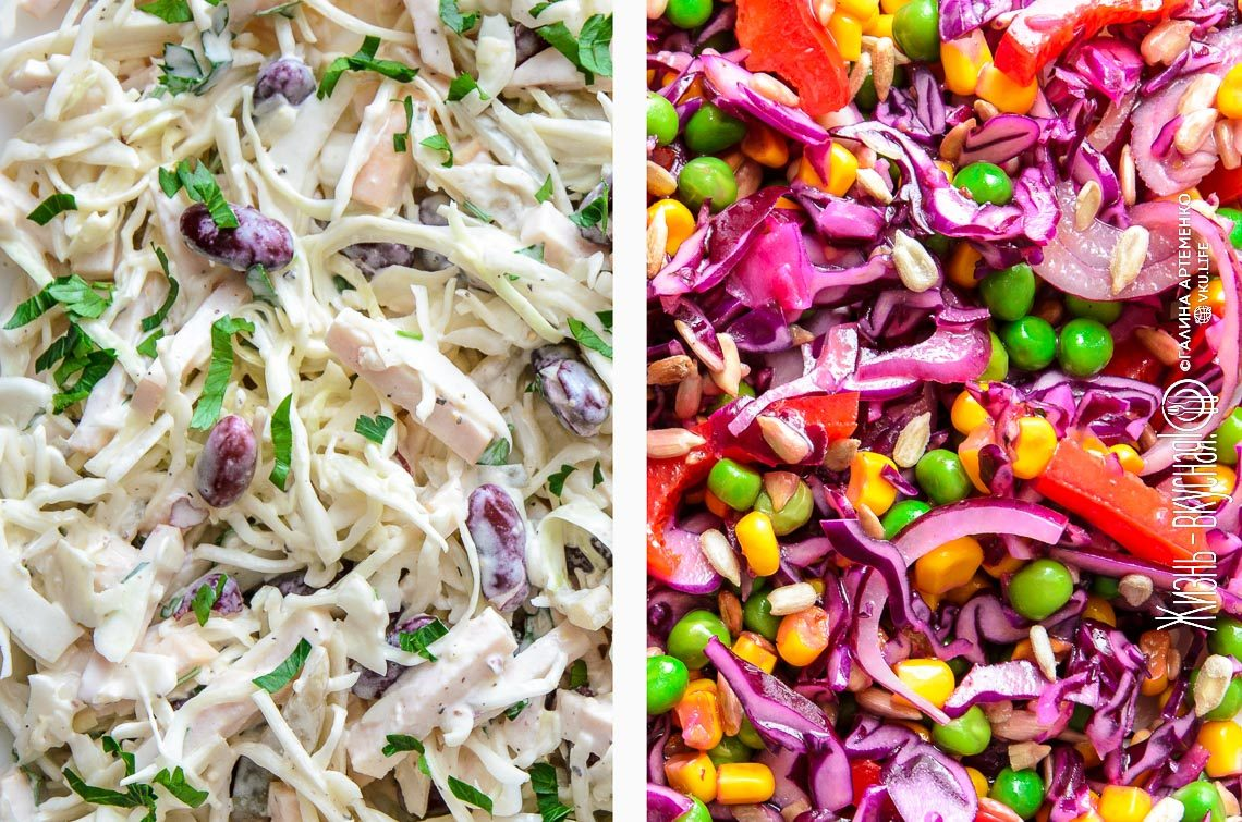 Салаты из свежей капусты: 2 простых рецепта рецепты,салаты