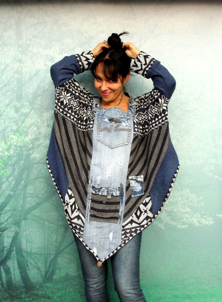 M-XL Crazy denim and sweaters patchwork poncho recycled hippie boho style by jamfashion on Etsy:
