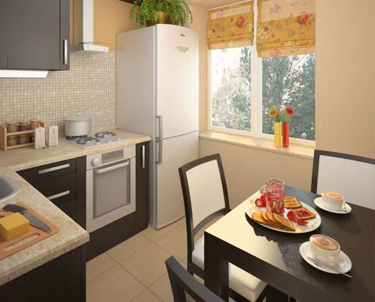 Дизайн угловой маленькой кухни 5,5 кв м