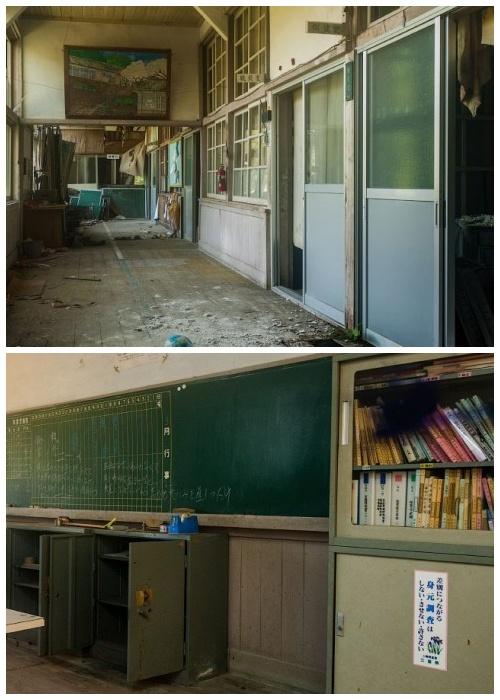 Несмотря на то, что здание деревянное, классы и коридоры не плохо сохранились (Школа Кадзика, остров Хонсю).