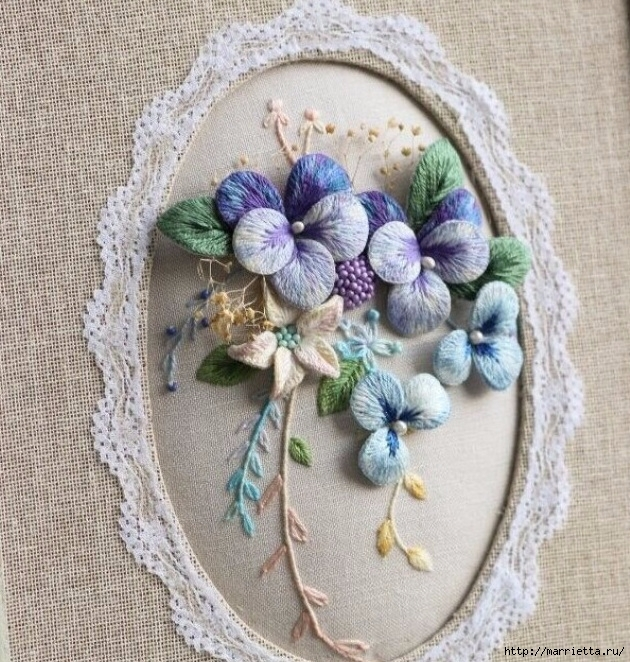 Красивые работы для вашего вдохновения — цветы, вышитые объемной гладью