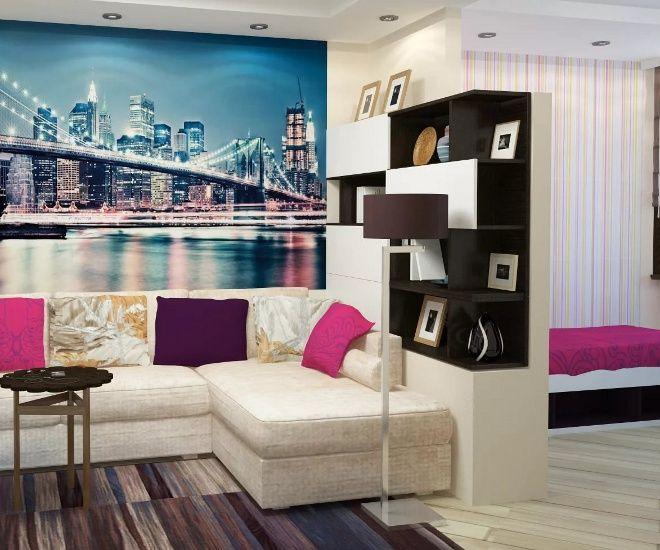 дизайн гостиной спальни стена