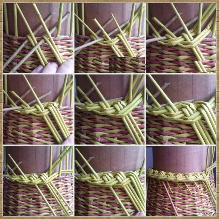 Пошаговое плетение из газетных трубочек для начинающих 5
