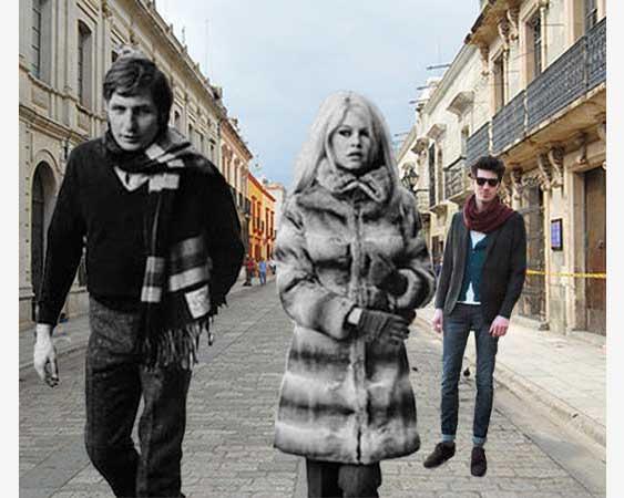 Жена с мужем и любовник на улице