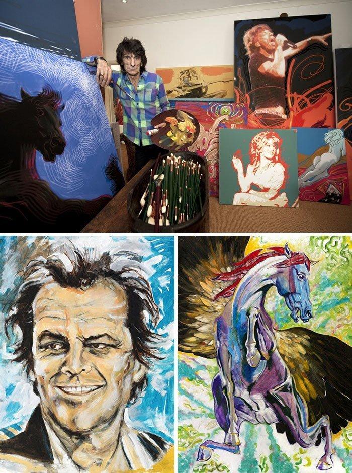 Ронни Вуд живопись, звезды, знаменитости, кино, многогранный талант, неожиданное увлечение, художники, эстрада