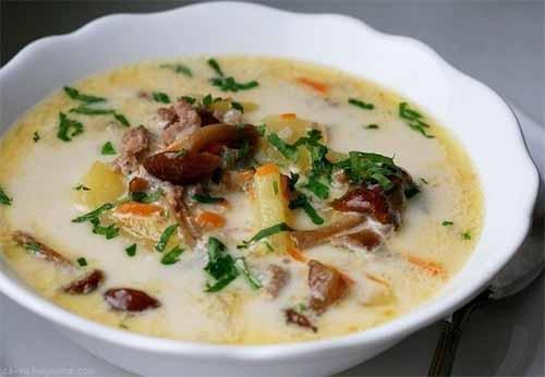 Сырный суп с опятами и курин…