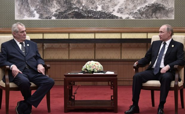 May 14, 2017. - China, Beijing. - Russian President Vladimir Putin and President of the Czech Republic Milos Zeman (left) during a meeting at the One Belt, One Road international forum.