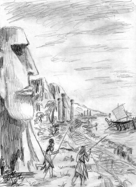 Приплытие круглоголовых на остров Пасхи