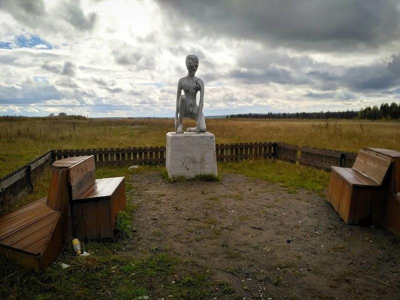 Памятник инопланетянину Алёше в деревне Молебка аномалии, аномальная зона, места, россия, факты