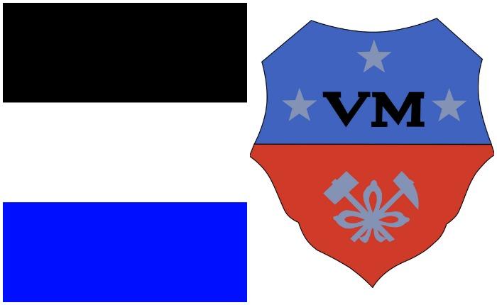 Слева - флаг Мореснета, справа - эмблема компании Vieille Montagne