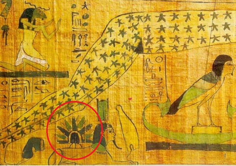 На древнем папирусе разглядели НЛО, приземлившийся на спину Сфинкса