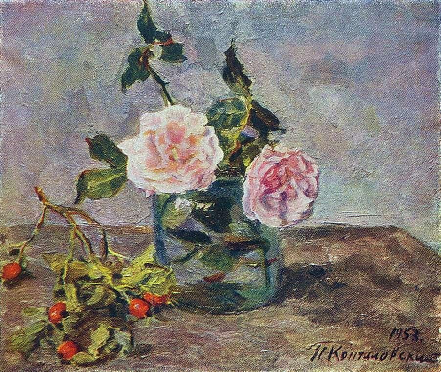 1953 Две розы и ягоды шиповника. 39х46 ЧС - Кончаловский Петр Петрович