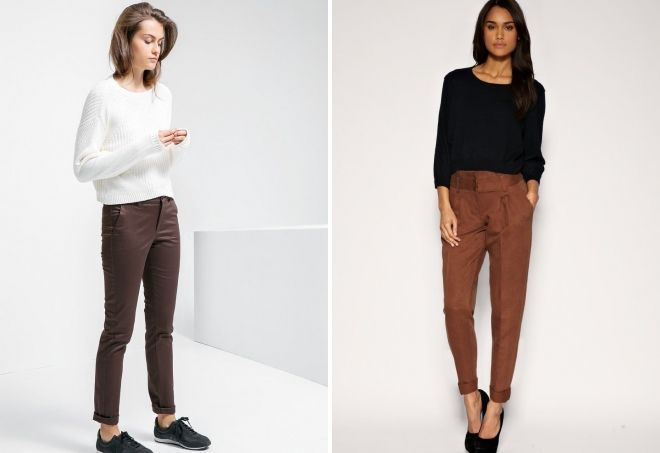 женские брюки шоколадного цвета