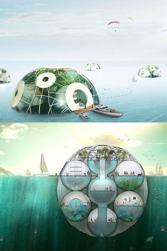 Вот еще нечто похожее. Люди хотят перебраться на воду и под воду архитектура, интересное, концептуальные фантазии, фабрик аидей