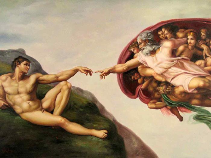 Сотворение Адама. Микеланджело Буонарроти.