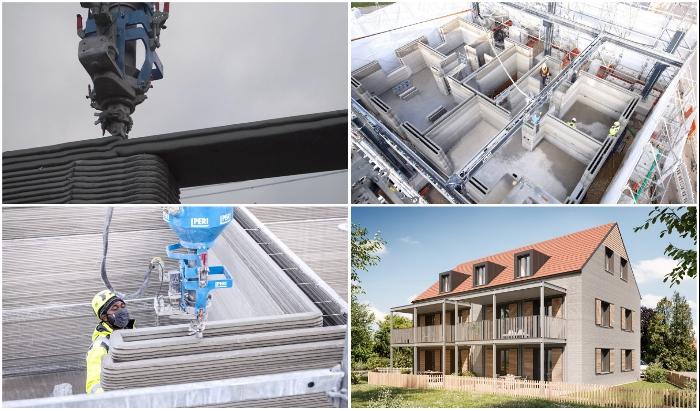 В Германии заканчивается печать многоквартирного дома с помощью самого быстрого 3D-принтера в мире. © HeidelbergCement Deutschland.