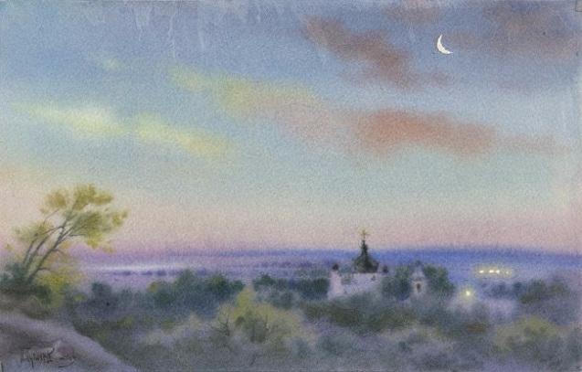 Зорька над Свято-Никольским монастырем (637x407, 203Kb)