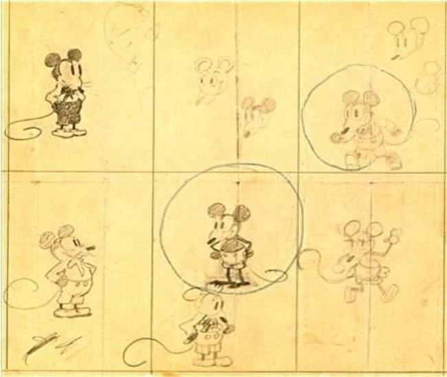 Ранние рисунки Микки Мауса от Уолта Диснея