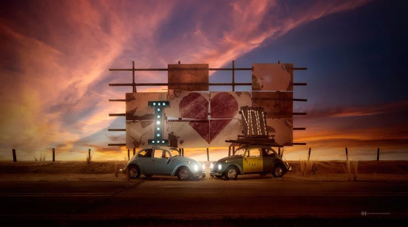 Реалистичные снимки с маленькими моделями машин