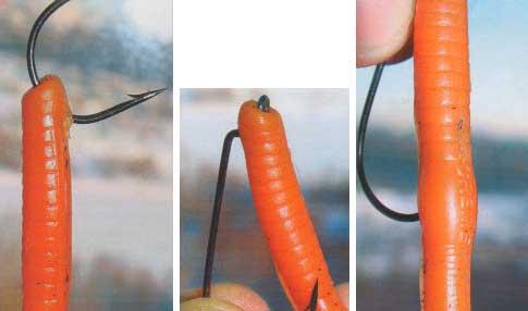 Насаживания червя на классический «офсетник»