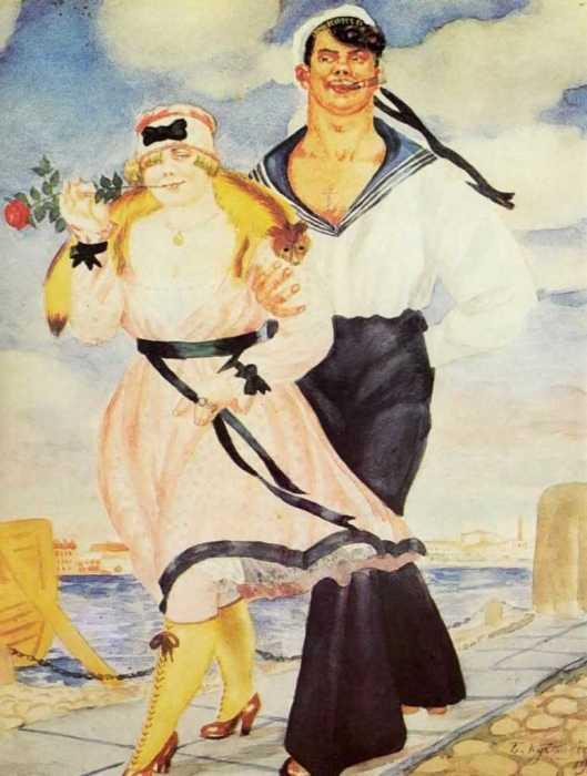 Матрос и милая. (1920). Автор: Б.М.Кустодиев.