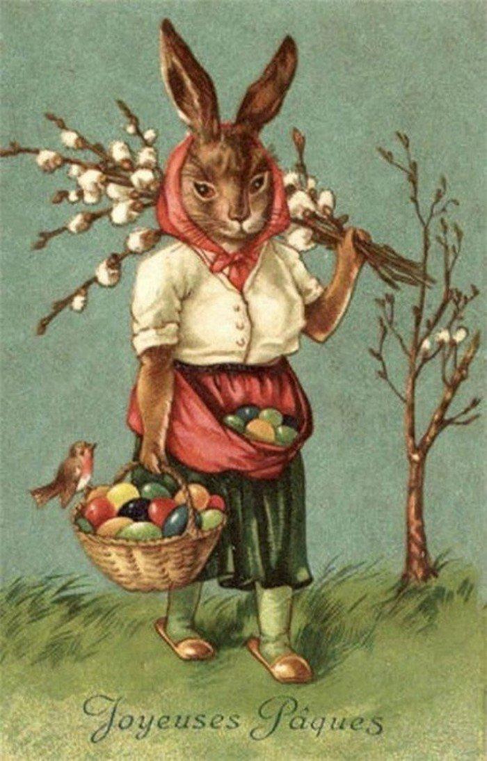 Открытки с пасхальным зайцем