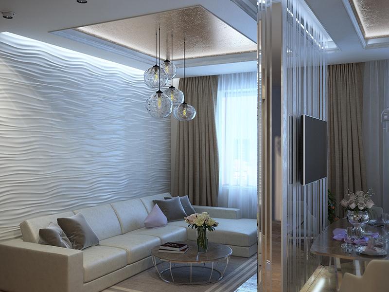 Золотая штукатурка на потолке - Дизайн интерьера квартиры г. Нижневартовск, ХМАО-Югра