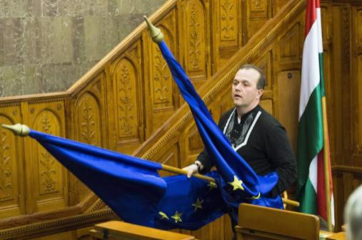 В Венгрии флаг ЕС выбросили в окно