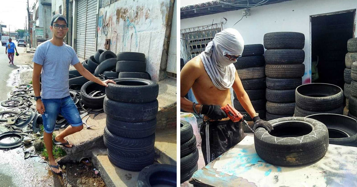 Бразилец подбирает старые шины и делает из них уютные лежанки для домашних животных