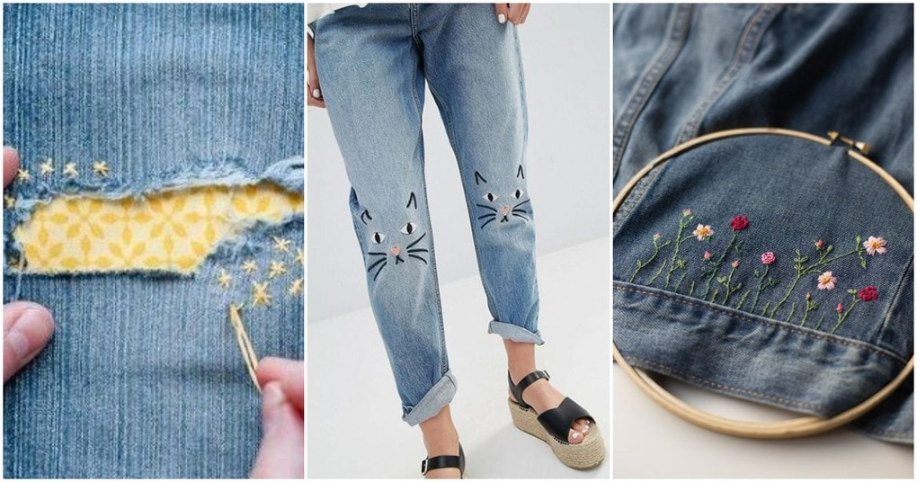 Простая, но крутая вышивка по джинсовой ткани: 20 классных идей