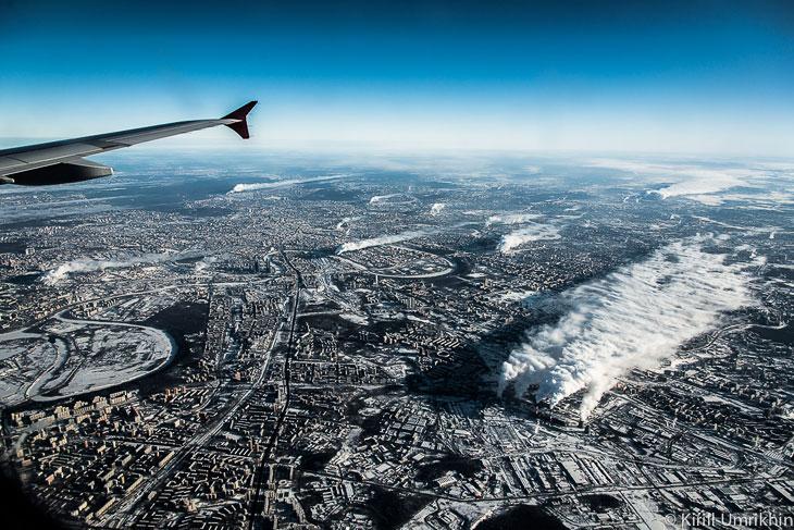 Зимняя Москва с высоты птичьего полета