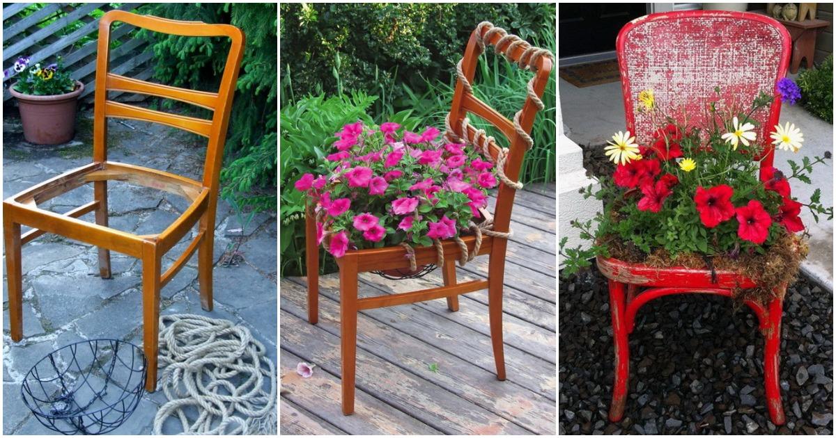 Мастерица взяла старый стул, веревку и легко превратила это в шикарный цветник
