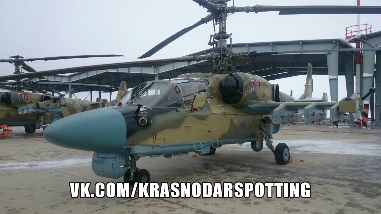В состав 55-го вертолетного полка в Кореновске поступили новые боевые вертолеты Ка-52
