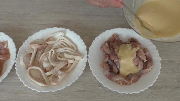 Закуска - три разных вкуса Кулинария, Рецепт, Другая кухня, Закуска, Рецепт закуски, Кальмар, Рыба, Мясо, Видео, Длиннопост