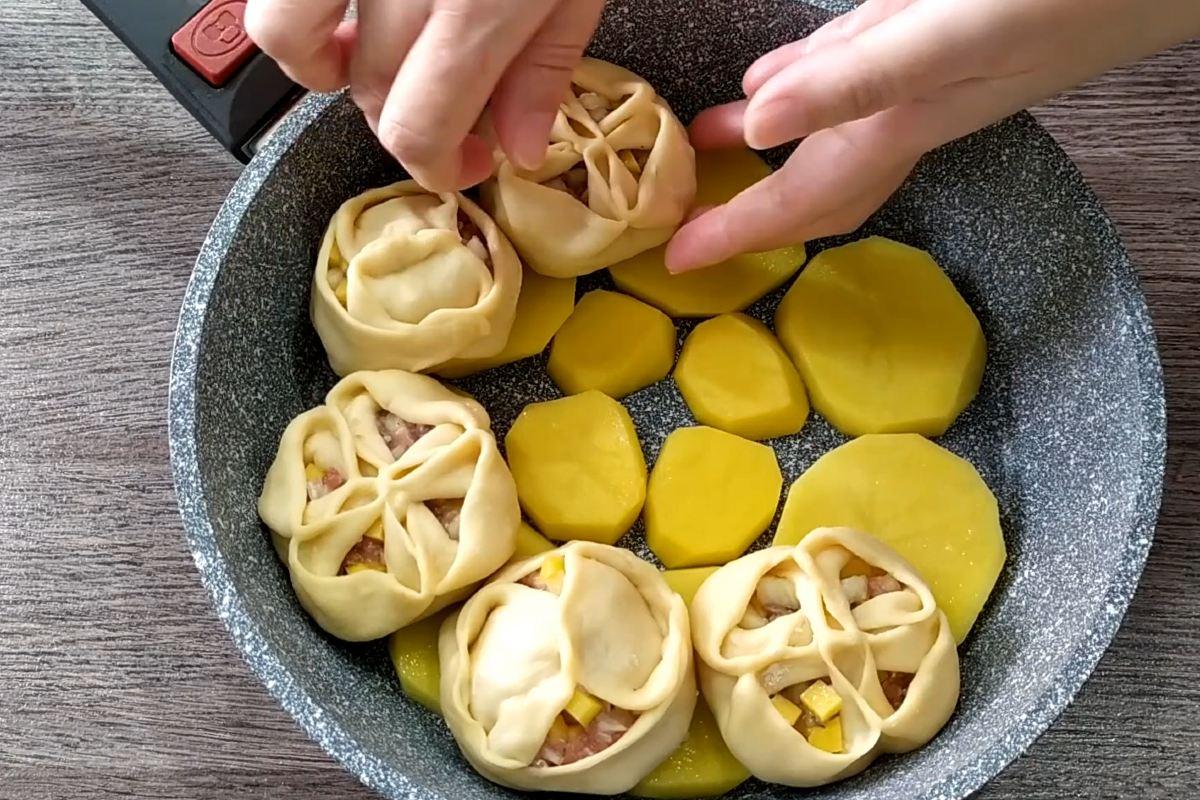 Манты на сковороде вторые блюда,тесто